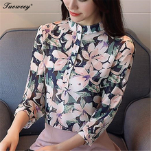 2018 Spring Autumn The New Korean Casual Chiffon Blouse stand collar Floral Print Women Shirt Long Sleeve Appliques Women's Tops
