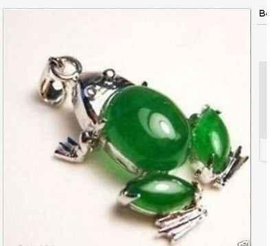 Atacado FRETE GRÁTIS HH # # HH # # Bonito sapo verde jade colar de pingente de forma