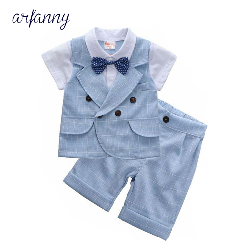 ARFANNY Baby Boys Clothes Summer Kids British Wind Birthday Dress Boy gentleman suit Children 39 s clothing blue blazer pants suits in Clothing Sets from Mother amp Kids