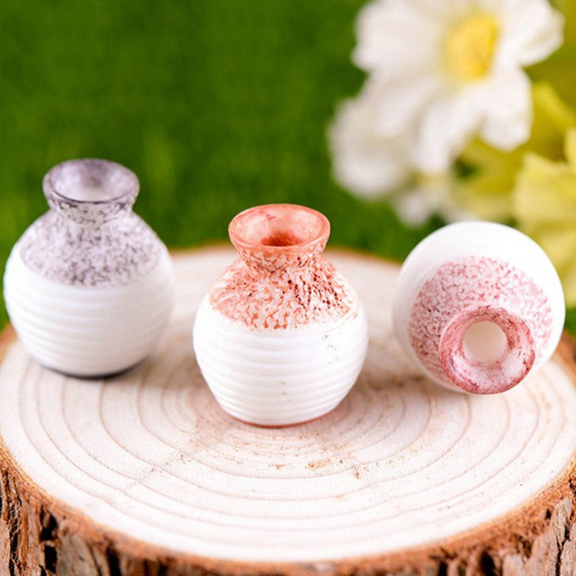 3pcs/Set Narrow- necked Bottles Vintage House Miniature Mini Vase Craft Fairy Garden Micro Landscape Decor Home Accessory 6
