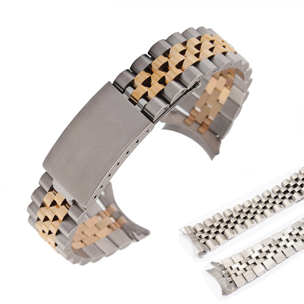 Silver Gold Oyster Fold Deployment Clasp Watch Band Strap Bracelet For Rol Men's SS 20mm Watch Part