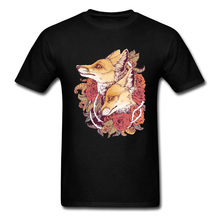 Male Clothing Red Fox Bloom T-shirt 2019 Brand New Men T Shirt Fox Couple Art Designer Tops Cotton Floral Tees For Students XL все цены