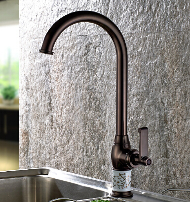 Free Shipping High Kitchen Faucet Long Spout Oil rubbed Bronze Bathroom Basin Sink Faucet Mixer Tap