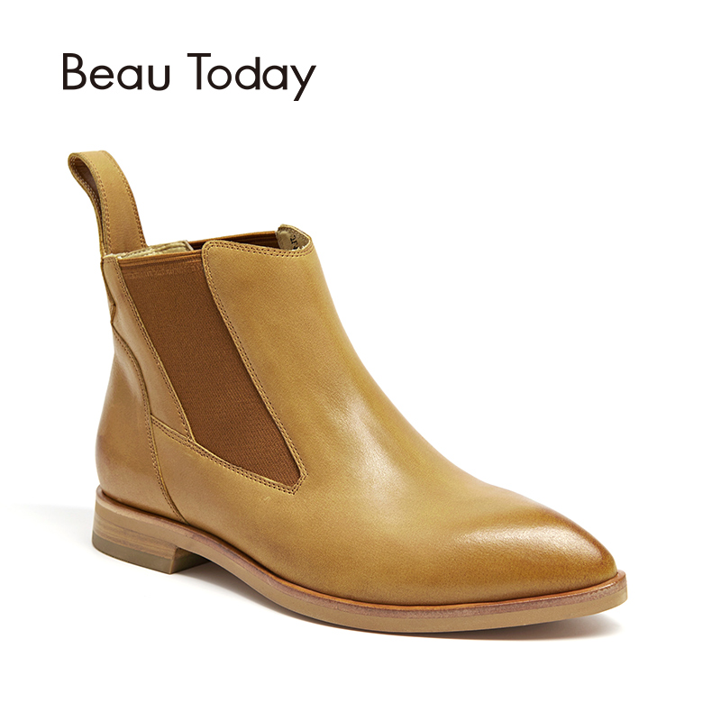 BeauToday Chelsea Ankle Boots Women Genuine Cow Leather Elastic Band Pointed Toe High Quality Lady Shoes Handmade 03090BeauToday Chelsea Ankle Boots Women Genuine Cow Leather Elastic Band Pointed Toe High Quality Lady Shoes Handmade 03090