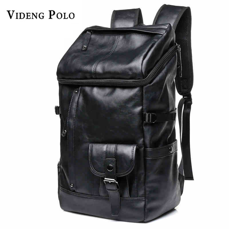 VIDENG POLO Large Capacity Solid Black Leather Backpack Leisure travel Daypacks college students schoolbag Laptop Male Mochila