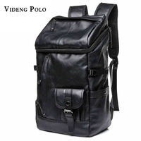 VIDENG POLO Large Capacity Black Leather Solid Backpack Leisure Travel College Students Bag Can Accommodate 16
