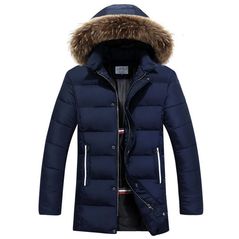 2017 New Design Winter Jacket Men Fashion Casual Fur Collar Long Thick Warm Cotton Padded Jacket Coat Parkas Homme Overcoat 3XL