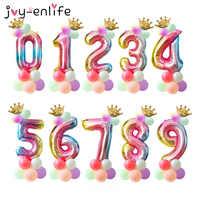 15pcs 1st Birthday Balloons Rainbow Number Balloon Unicorn Birthday Party Decoration Kids Boy Girl Baby Shower Party Balloons