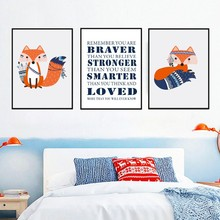 Indian Cartoon Fox Stronger Smarter Braver  Canvas Paintings Arrow Wall Art Picture Poster Print Kids Room Home Decor
