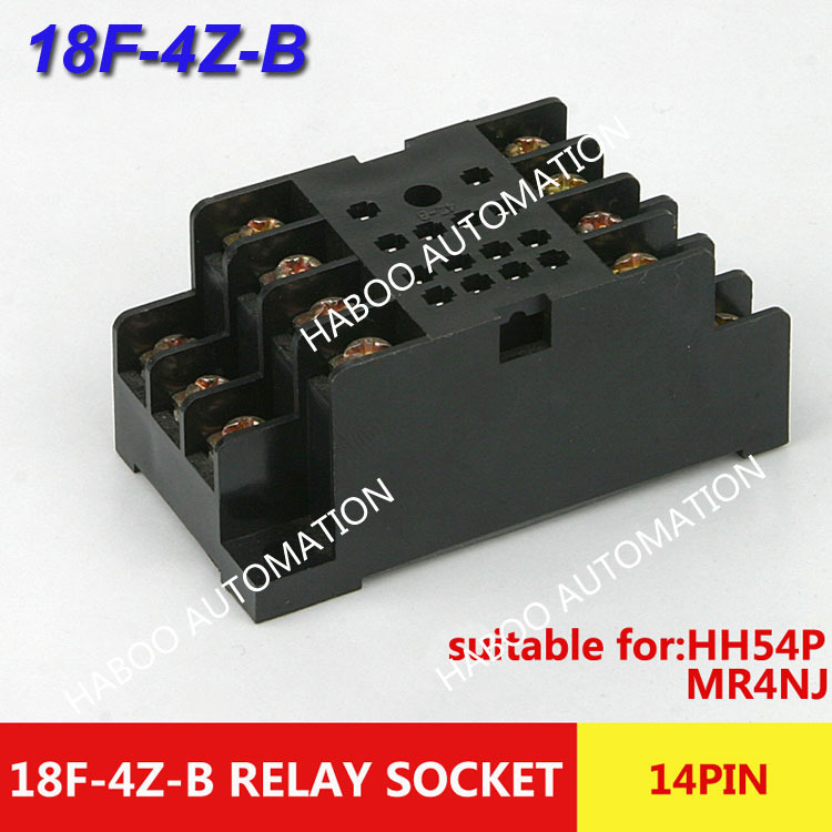 10pcs/lot HABOO auto-relay socket 14pin relay base 18F-4Z-B socket set HH54P relay mini electrical switch relay socket