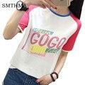 Camisa Mulheres verão T Letra Impressa Solto Harajuku de manga Curta Estilo Casual T-shirt Da Menina Tops algodão Casual