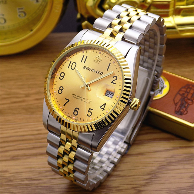 REGINALD Quartz Watch Men 18k Yellow Gold Woman Man Lovers Dress Fluted Bezel Di