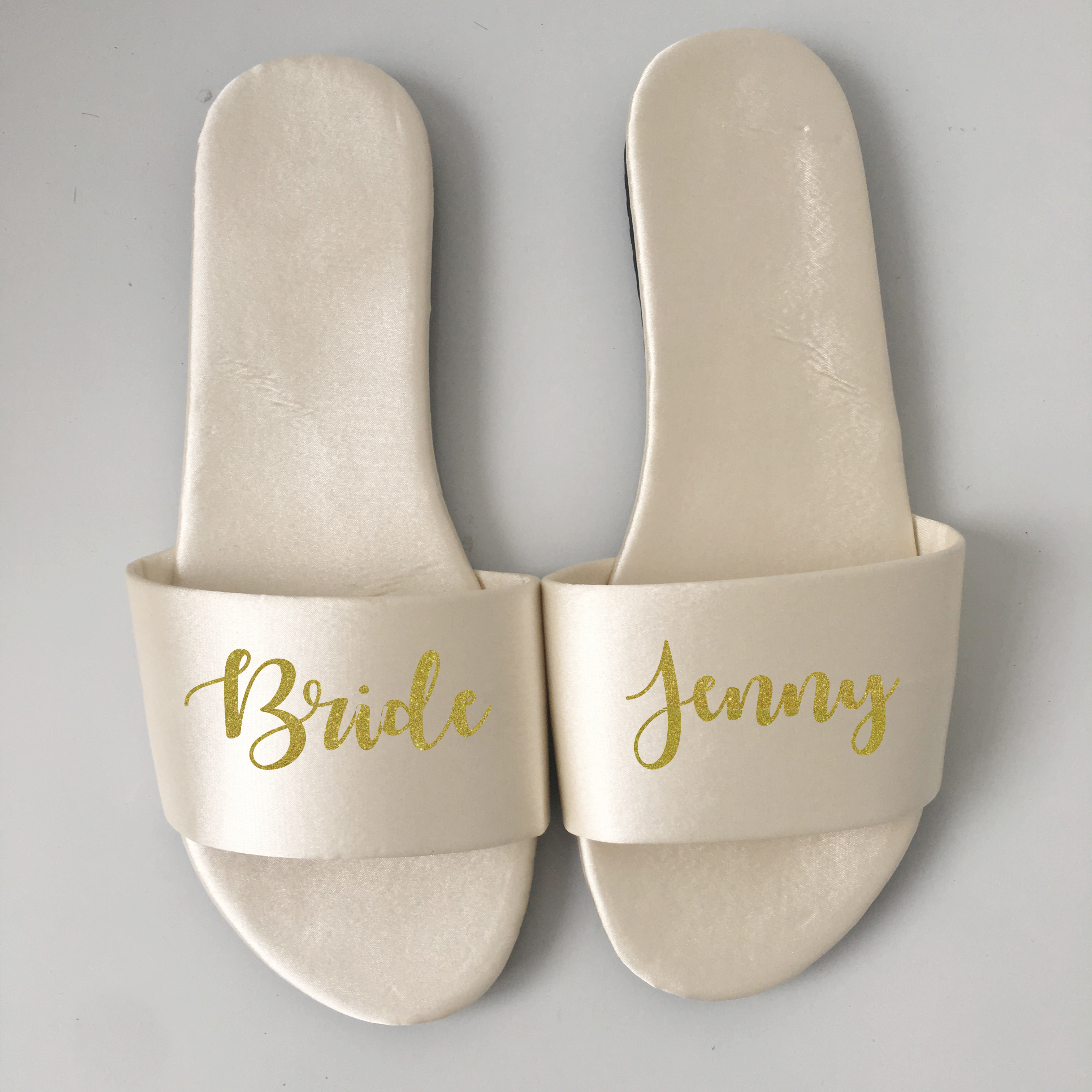 Birthday Wedding Proposal ideas bachelorette party personalized Team bride Bridesmaid gift satin slippers image