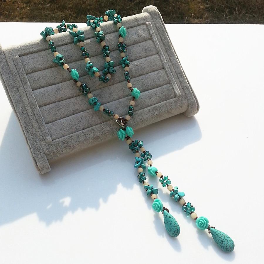 Style 123020 Diamontrigue Jewelry: Bohemian Style Women Calaite Turquoises Stone Rose Flower