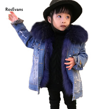 RosEvans 2017 Korean Winter Women Genuine Raccoon Fur Collar +Detachable Natural Fox Fur Lined Denim Jeans Baby Jacket B330
