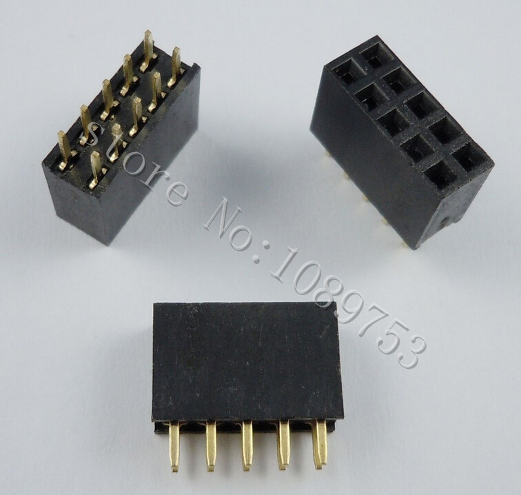 100pcs 2x5 Pin 2.54mm Double Row Female Pin Header 10P PCB Socket Connector pin header female socket 2 0mm spacing 2 40p double base two rows socket