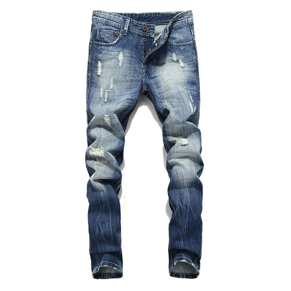 2019 Brand Men Cotton   Jeans   Straight Fit Ripped Washed   Jeans   For Men Casual Pants Italian Designer Stretch Denim Ripped   Jeans