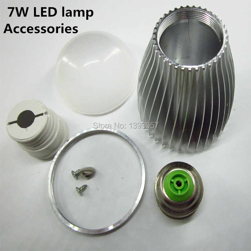 5 Set 7W Aluminum shell kit LED parts LED bulb lamp accessories E27 E14 B22 Gu10 Base plug For DIY