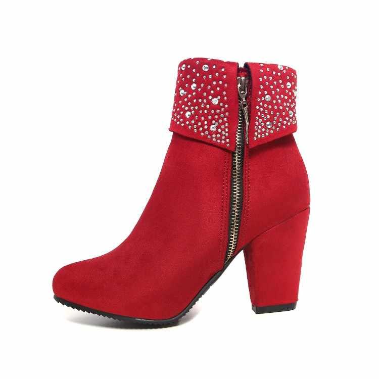 MLJUESE 2018 kadın yarım çizmeler Akın fermuarlar kırmızı renk kış peluş sıcak yüksek topuklu bayan botları parti elbise düğün boyutu 32 -43