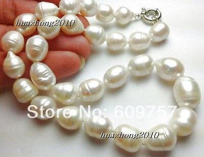 Véritable bijoux d'eau douce naturelle 11-12mm le collier de perles de culture de tahiti blanche 18 ''colliers à crochet en argent