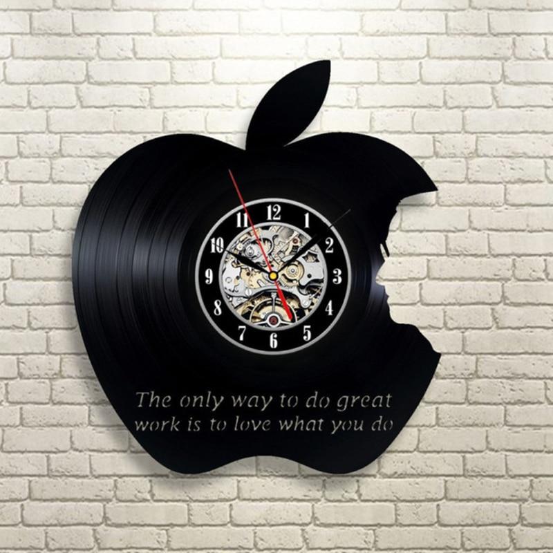 Steve Jobs Wall Clock Modern Design 3D Decorative Hanging Vinyl Record Apple Clocks Wall Watch Art Home Decor Silent 12 Inch