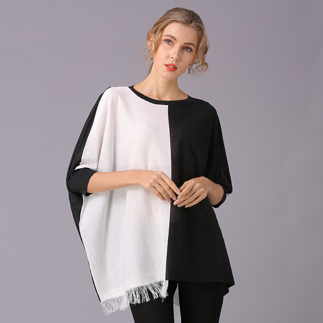 XIKOI Women T Shirt Oversize Clothing Casual Color Stitching Novelty Pullovers Fashion Tees Ladies Shirts For Women Tops