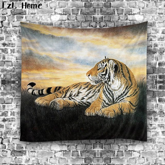 Lzl Home 1 Ps Polyester Large Animals Lion Tiger Tapestry Indian Printed Wall Hanging Hot
