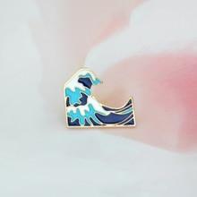 6e43c30b2a299 Ondas azuis Esmalte broche Pin fivela Broche de Metal para o Saco do  Revestimento do Revestimento Dos Desenhos Animados Emblema .
