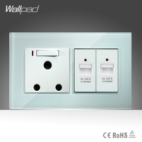 15A 16A South Africa Socket and Double UBS Socket Wallpad 146*86mm White Glass 2 USB Ports and 16A SA Switched Socket with LED new south africa power and usb charger pop up desk socket 100 pcs set