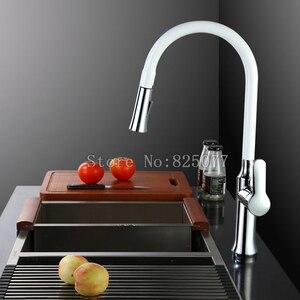 Image 2 - _ 360 Поворотный смеситель с одной ручкой, смеситель для раковины, выдвижной кухонный смеситель, черный и белый, 4 цвета на выбор KF933