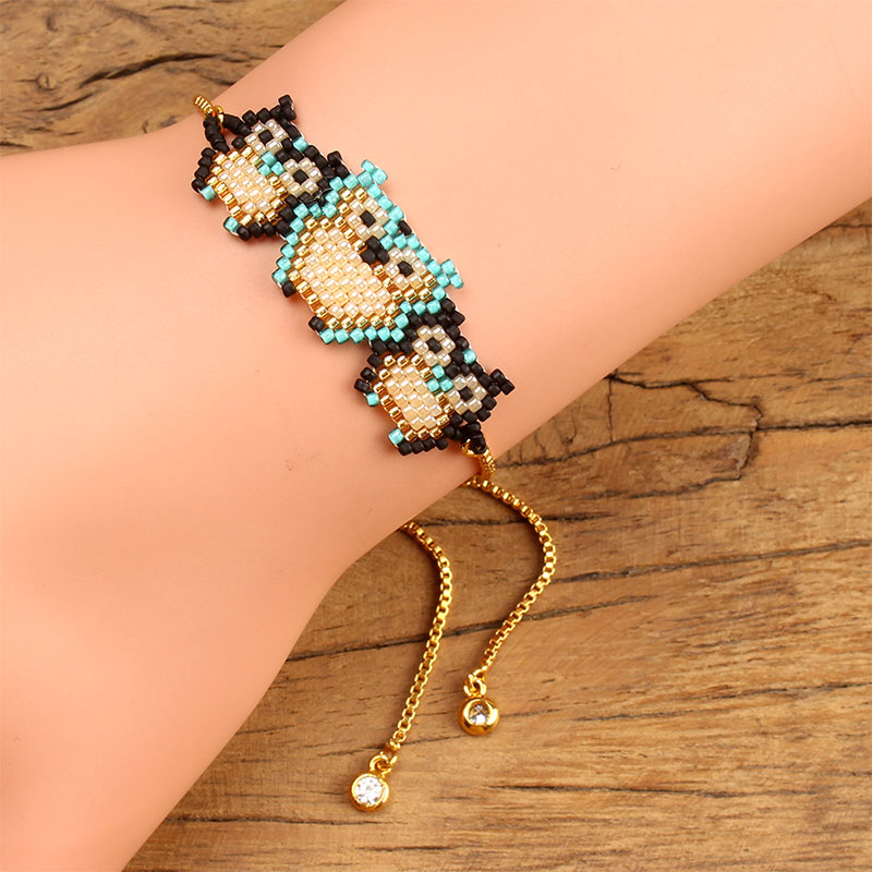 Balibali Newest Handmade Woven Three owls Pattern Seed Beads Bracelet for Women MIYUKI Seed Bead Wife Gift Bracelet Jewerly
