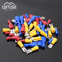 TSLEEN 400Pcs Box Male Female Spade Crimp Terminals Fully Insulated Electrical Connectors Butt Made Of Copper