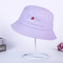 New Fashionable Strawberry with Embroidery for Men Women Hip-Hop Fisherman Hat for Adults Casual Outdoor Solid 4 Color Flat Hat fashionable solid color double deck pu cabbie hat for men