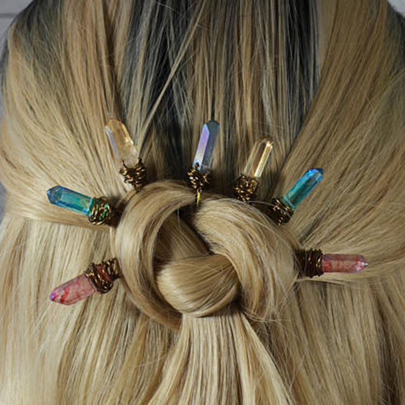 Single Raw Quartz Hairpins