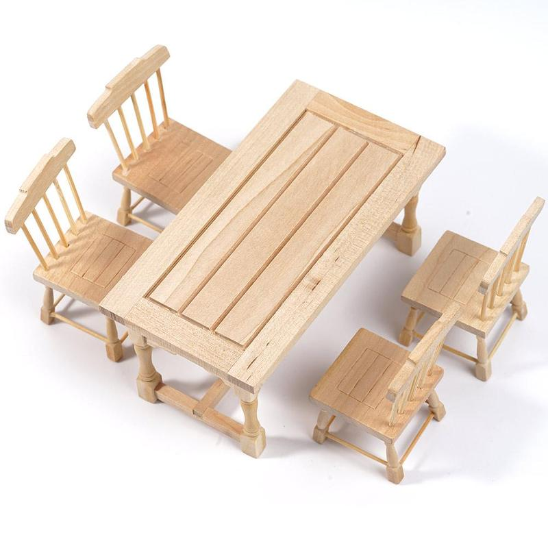 Us 10 86 29 Off Wood Dollhouse 5pcs Set Plain Table And Wood Chair Furniture Wooden Baby Miniatures Accessories Children Diy Dollhouse Decor Toy On