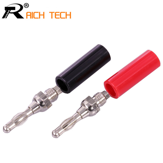 2pcs/lot Black+Red HIGH QUALITY 4MM BANANA PLUG CONNECTORS ADAPTER SPEAKER WIRE AUDIO CABLE RED RETAIL