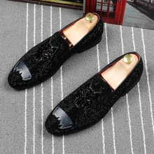 men casual wedding party dress breathable cow leather rhinestone shoes slip-on driving shoe embroidery summer loafers zapatos стоимость