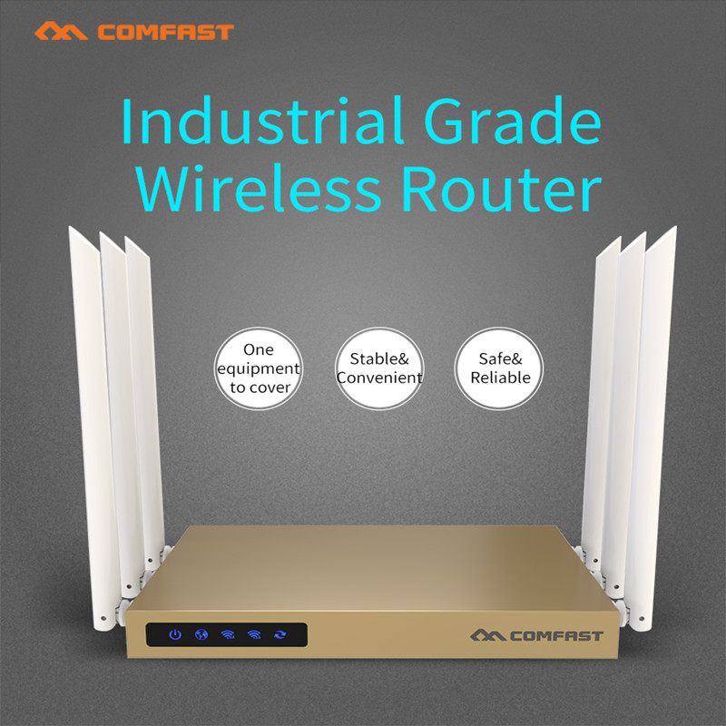 COMFAST 750M 2.4G+5G Dual Band high power wireless router with 6*6dBi antenna wifi 128MB 802.11ac wi fi router coverage 600sq.m цена и фото