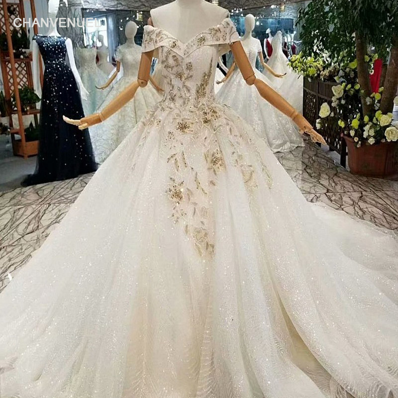 Where To Buy Wedding Gown: LS647747 Beaded Flowers Wedding Dresses Charming Off The