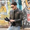 ENVÍO GRATIS 2017 Nuevos Hombres de la Chaqueta de Cuero de La Motocicleta de La Vendimia Genuina Piel de Vaca Negro Soporte de Cuello Slim Fit Hombres Invierno Abrigo Biker