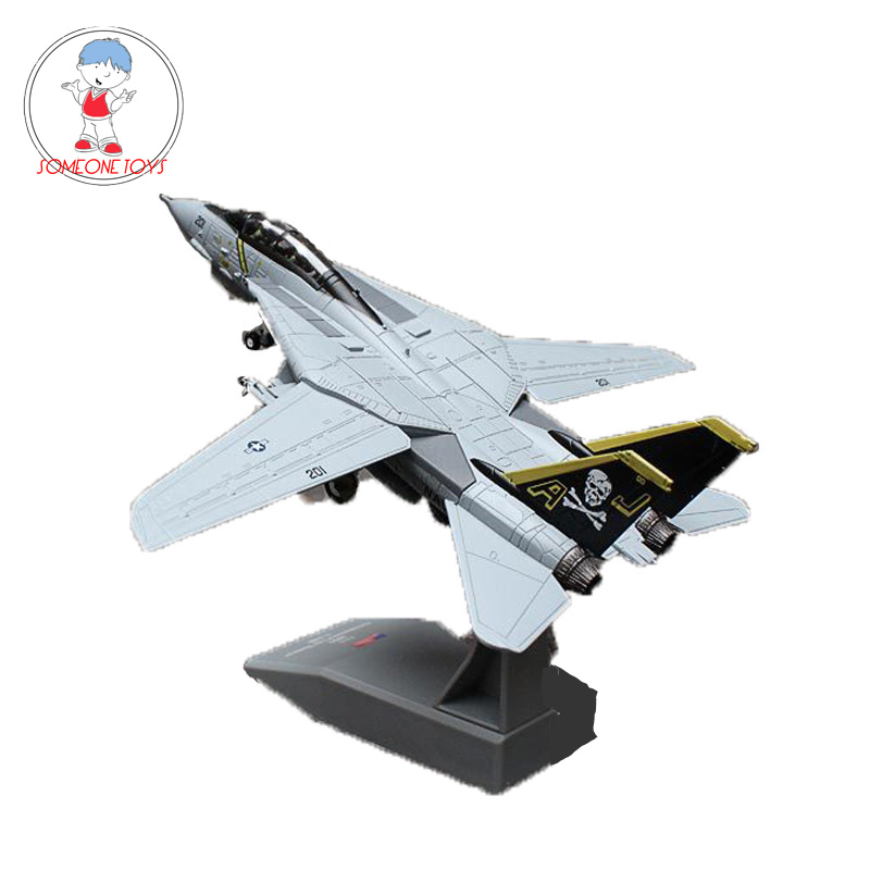 AMER 1/100 US Military Fighter Model F14 Tomcat F-14A AJ200 VF-84 Carrier Fighter Diecast Alloy Plane Model Toy Collection Gift