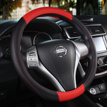 KKYSYELVA Car Steering Wheel Cover Black Red Leather Covers Auto Steering-wheel Interior Accessories
