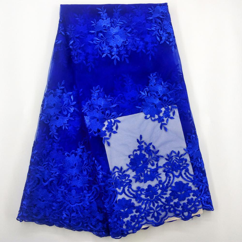 Royal blue french lace fabric high quality lace fabric for party dress white african tulle lace