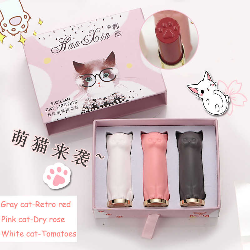 3 Pcs/set Kartun Kucing Lipstik Makeup Kucing Lip Stick Set Tahan Air Tahan Lama Crystal Lipstik Pelembab Lipstik Batom