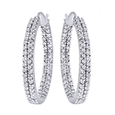18K WHITE Gold OVER 25MM TWO ROW INSIDE OUT CZ HOOP EARRINGS inside out