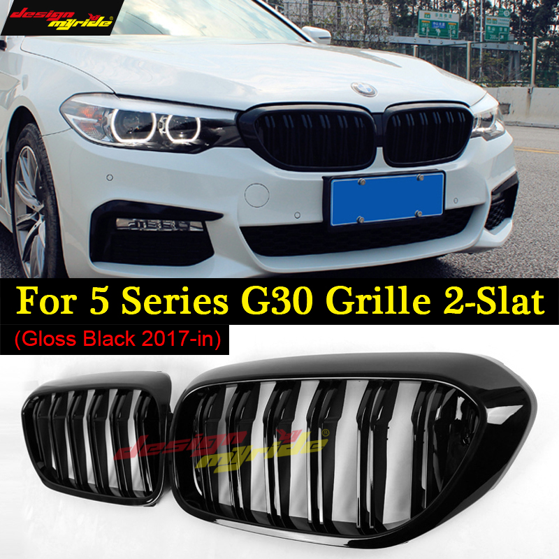 все цены на A Pair G30 M5-Style Kidney ABS Plastic Gloss Black Auto Car-styling Front Racing Grill Grille for BMW G30 G38 New 5 Series 2018 в интернете
