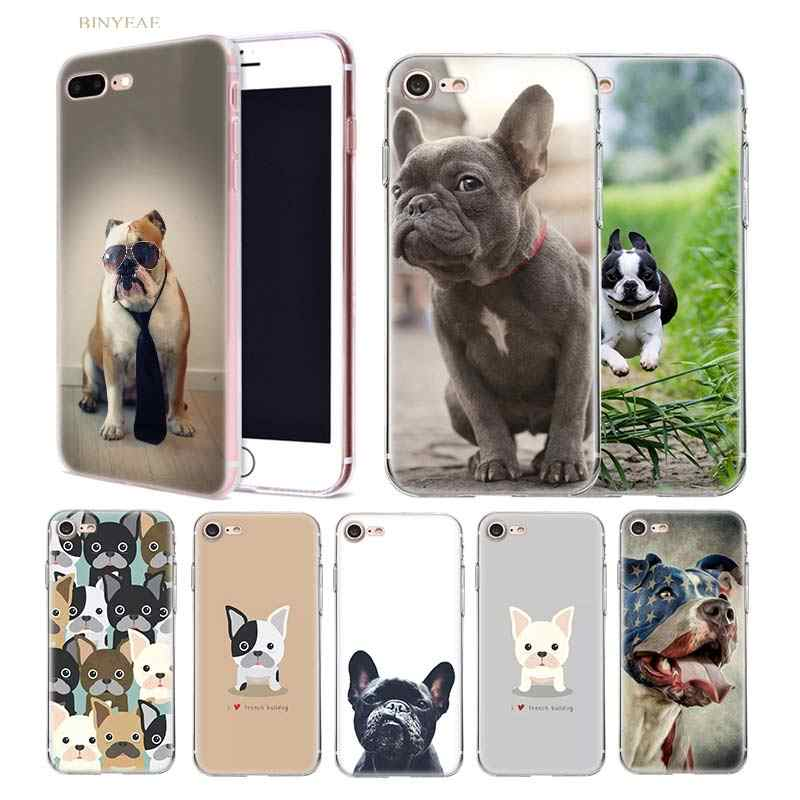 Bahasa Perancis Bulldog Case untuk iPhone X XR X MAX 7 7S 8 Plus X 7 + 8 + 5 5SE 5C 6 6S Silicone Transparan Fundas Phone Cover 11 11Pro