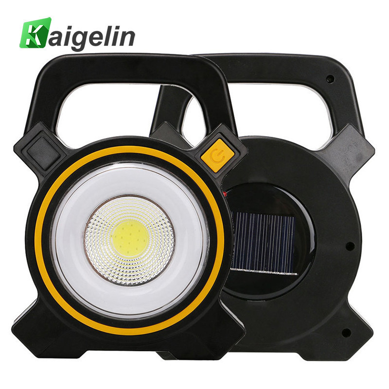 Kaigelin 15W Solar Power COB LED Flood Light 300LM 18650 Rechargeable Camping Waterpoof LED Work Lamp Portable LED Camping Light