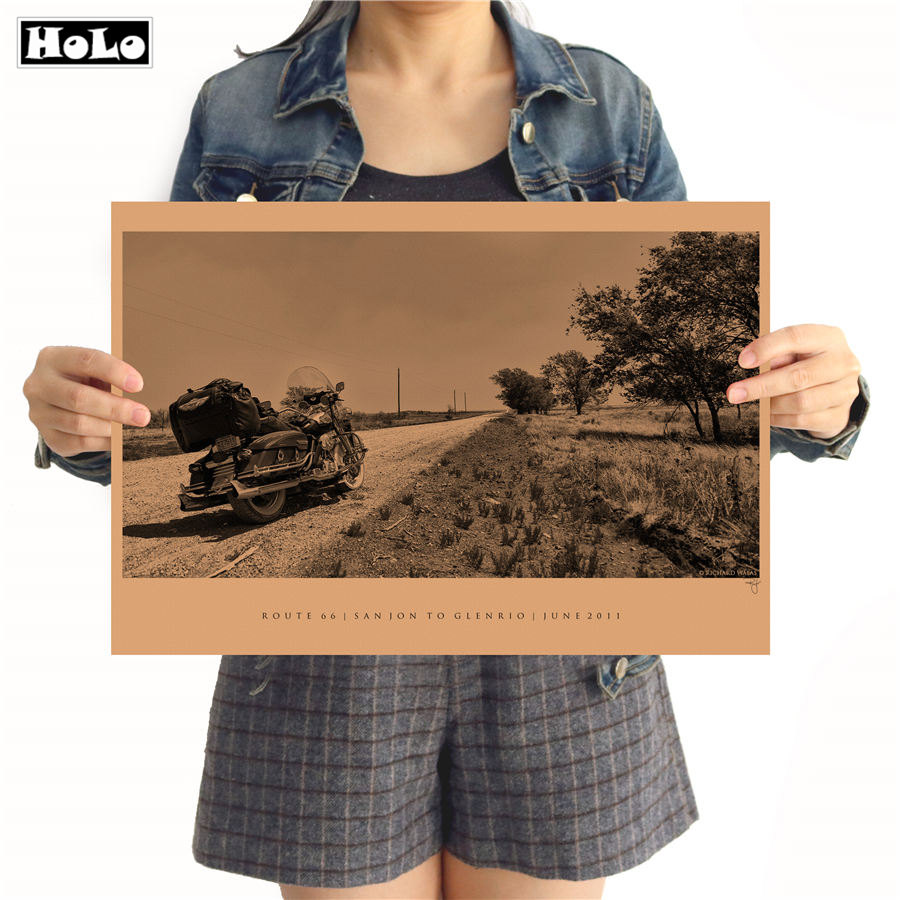 Wall Stickers Vintage Kraft Paper Motorcycle Usa Route 66 Poster Wall Art Crafts Sticker Living Room Paint Bar Cafe Decor 42x30cm Zo-050 Back To Search Resultshome & Garden