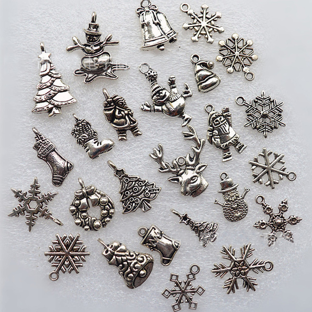 30pcs metal charms pendants santa claus snowflake bells deer snowman christmas decorations for home xmas tree